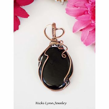 Black Onyx Copper Wire Wrapped Pendant