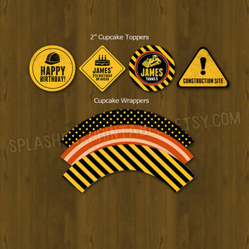 Construction Worker Party Cupcake Toppers with free wrappers - Heavy Construction Equipment Printable Birthday Cupcake Toppers