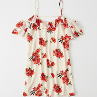 Womens Cold-Shoulder Ruffle Dress | Womens New Arrivals | Abercrombie.com