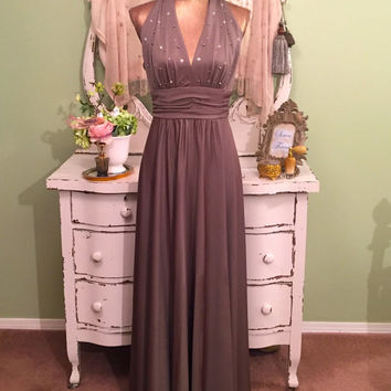 70s Taupe Halter Dress, 1970s Long Evening Gown, Jewel Sparkle Dress, High Fashion Dress, 70s Disco Glam Gown, Elegant Event Dress, Sz M/S