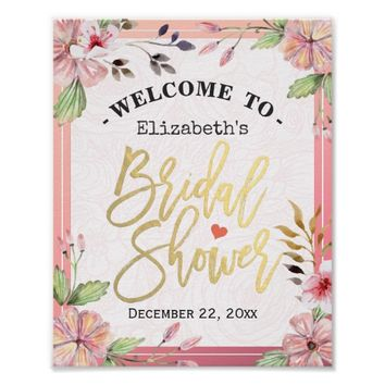 Watercolor Floral Script Bridal Shower Welcome Poster