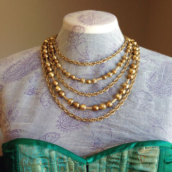 Gold Multi-Strand Waterfall Necklace Signed Trifari with Crown Trifari Hang Tag- Vintage 1950's