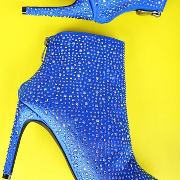Rhinestone Accent Satin Pointy Toe Stiletto Booties