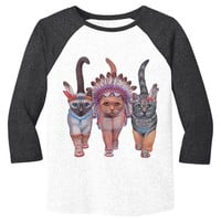 Festive Costume Indian Cats Mens Baseball Shirt - White Body-Black Sleeves