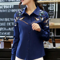 Winter Women's Fashion Cotton Embroidery Blouse [6513085703]