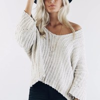 Soft Side Almond Chenille Pullover Sweater