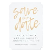 Modern Sleek Minimalist Rose Gold Save the Date Card