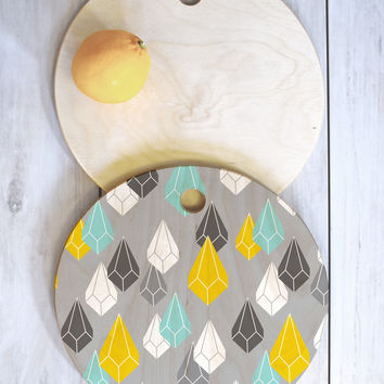 Heather Dutton Raining Gems Whisper Cutting Board Round