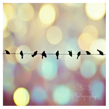 Birds on Wire art print. Dreamy photography. surreal sky. bokeh. bird home decor. colorful. gold. blue. purple. silhouette. nursery decor