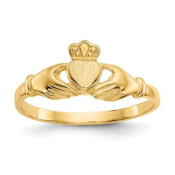 14K Yellow Gold Polished & Satin Claddagh Ring