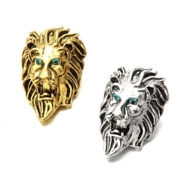 New Large Snap Jewelry Rhinestone Vintage Lion Head Metal 18mm Snap Buttons for DIY 18mm Snap Bracelets Necklace Punk