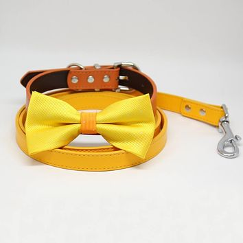 Yellow and Orange Bow tie Dog collar Citrus Leash, Handmade Love, Puppy Gift, Pets wedding