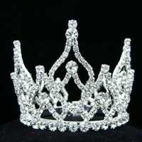 Rhinestone Crystal Prom Bridal Wedding Mini Bun Tiara Crown