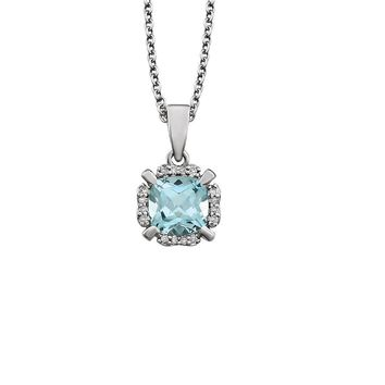 Cushion Sky Blue Topaz & Diamond Necklace in 14k White Gold, 18 Inch