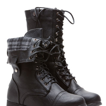 269766ae3a5 Black Faux Leather Fold Over Plaid Combat from CICI HOT
