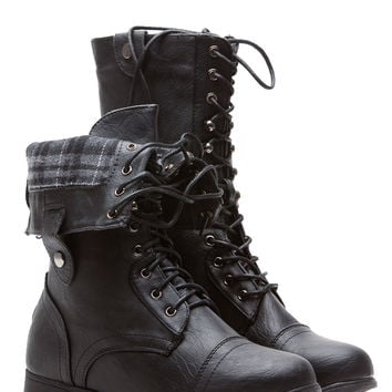 Black Faux Leather Fold Over Plaid Combat Boots