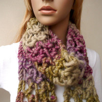 Multicolor Hand Knit Scarf  Wool Neck Warmer Chunky Knit Scarf  Unique Winter Accessory in Purple and Green