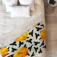 Elisabeth Fredriksson Birds I Fleece Throw Blanket