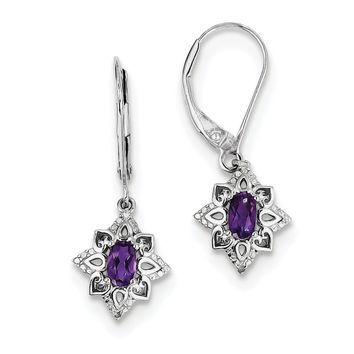Sterling Silver Oval Amethyst & Diamond Leverback Earrings
