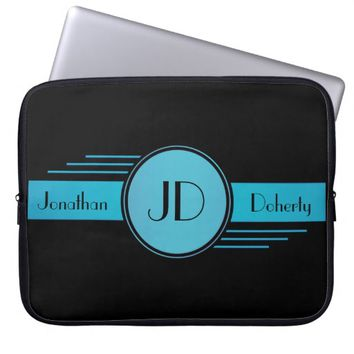 Black and Blue Monogrammed Laptop Sleeve