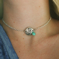 Sand Dollar & Sea Glass Choker Necklace