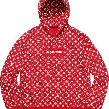 LV Supreme Fashion Print Women Men Casual Embroidered Tea Red Hoodie Top Sweater I