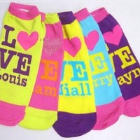 One Direction 1D I Heart Love Zayn Niall Harry Louis Liam Socks 5 Pack, Bright Assorted Colors, One Size