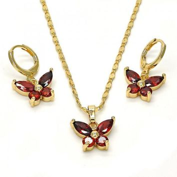 Gold Layered Necklace and Earring, Butterfly Design, with Cubic Zirconia, Gold Tone