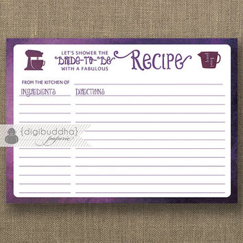 Plum Ombre Recipe Card INSTANT DOWNLOAD Bride Bridal Shower Purple Watercolor 5x7 DIY Printable or Printed Fill-In Recipe Retro - Kim