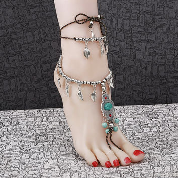 Women Beach Barefoot Sandal Foot Tribal Tassel Jewelry Anklet Chain Multilayer Turquoise