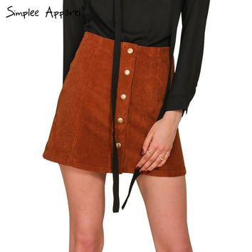 VONE05F Day First Simplee Apparel Retro corduroy high waist skirt A line button slim mini skirt Preppy single breasted Autumn women ski