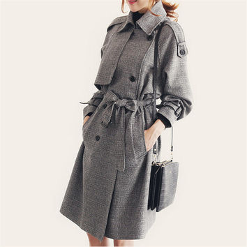 Autumn Plaid Trench Coat Casual Maxi Coats,Casaco Feminino,Female Overcoat Long Double Breasted Windbreaker Outerwear Coat C2240