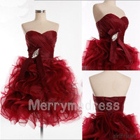Beads Wine Red Ruffled Strapless Bowknot Lace-up Short Gown Cocktail Dress,Organza Formal Evening Party Prom Dress New Homecoming Dress