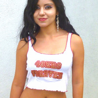 49ers Forever White Ribbed Crop Top