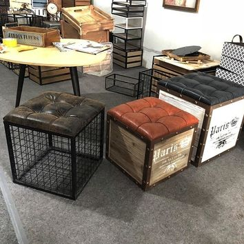 North European and American style living room square wrought iron storage stool seat stool storage bench change shoe stool iron