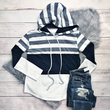 Navy and White Color Block Hoodie