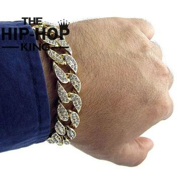 Men's Luxury Rhinestone Fashion Bracelets & Bangles High Quality Gold Color Iced Out Miami Cuban