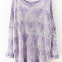 Purple Heart Print Knitted Long Sleeve Sweater