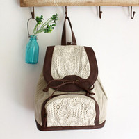 White Backpack with Lace Detail