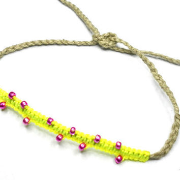 Neon Braided Friendship Bracelets neon yellow by zurdokero