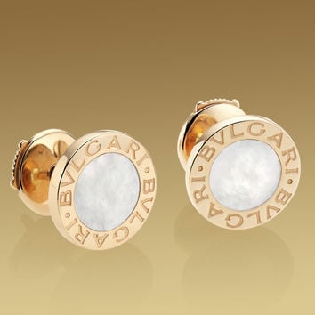 Bulgari Bulgari earrings in 18 kt pink gold with mother of pearl.