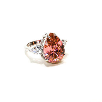 Huge Pear Shaped Pink Diamond CZ Engagement Ring White Gold over Sterling Silver