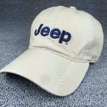 Beige Color Jeep Embroidered Baseball Cap Hat