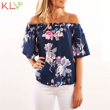 Trendy Style Sexy Women Girls Fashion T-shirts Off Shoulder Floral Printed Casual Top T Shirts Tops For Lady Female Gifts