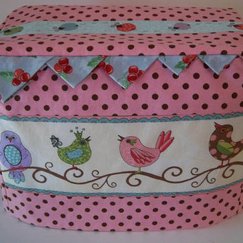 Two Slice Toaster Cover, Pink with Brown Polka Dots, Birds on a Branch