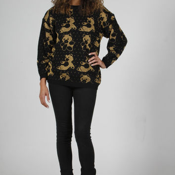 Black and Gold Teddy Sweater