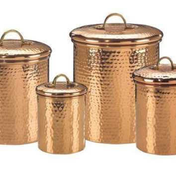 Set 4 Decor Copper Hammered Canisters 4Qt-2Qt-1.5Qt-1Qt