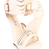 Nude Cut Out Detail Open Toe Sandal Wedges Faux Leather