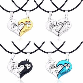 Trendy I Love You Heart Pendant Lovers Gift Hollow Broken Heart  Necklaces&Pendants Rhinestone Best Friend Necklace For Couple