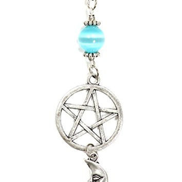 Pentagram Crescent Moon Necklace Silver Tone Pentacle Star Celestial Pendant NP38 Fashion Jewelry